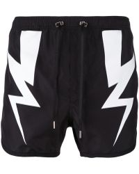 Neil Barrett - Lightning Bolt Swim Shorts - Lyst