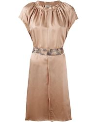 Nude - Pleated Trim Belted Dress - Lyst