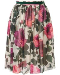 Blugirl Blumarine - Rose Print Skirt - Lyst