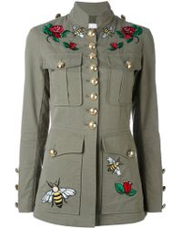 Ash - Embroidered Patch Military Jacket - Lyst