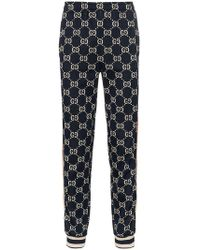 Gucci - Blue Gg Supreme Print Cotton Blend Sweat Trousers - Lyst