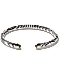 David Yurman - Cable Classics Sterling Silver, Onyx & 14kt Yellow Gold Accented Cuff Bracelet - Lyst