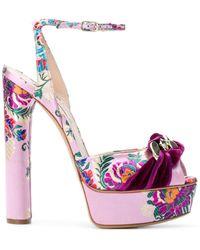 Casadei Sandalias con bordado floral - Rosa