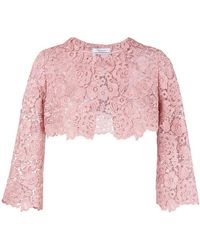 Blumarine - Floral Lace Cropped Jacket - Lyst
