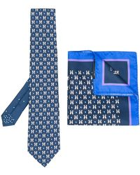 Etro - Penguin Print Tie And Pocket Square Set - Lyst