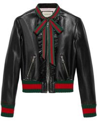 Gucci - Ruffle Leather Bomber Jacket - Lyst