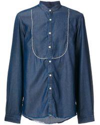 Low Brand - Piped Bib Collarless Shirt - Lyst