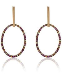 Ileana Makri - 18k Yellow Gold Diamond Hoop Earrings - Lyst