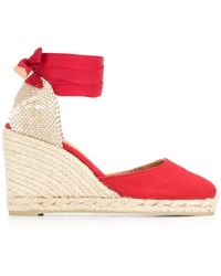 abecd5eae08 Lyst - Castaner Lace-up Wedge Espadrilles in Red
