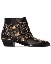 Chloé - Black Susanna 30 Studded Ankle Boots - Lyst