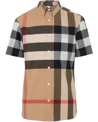 Burberry - Short-sleeve Check Stretch Cotton Shirt - Lyst