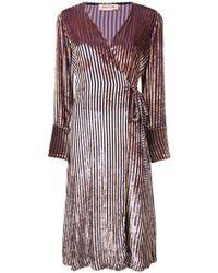 Black Coral - Striped Velvet Wrap Dress - Lyst