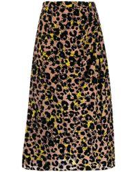 Rochas - Leopard Print Midi Skirt - Lyst