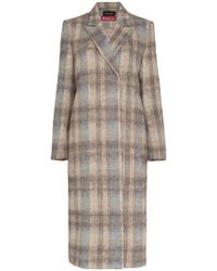 Low Classic - Check Basic Long Wool Blend Coat - Lyst