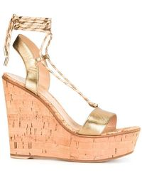 Gianvito Rossi | Lace-up Wedge Sandals | Lyst