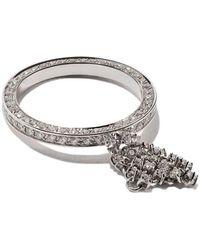 Maison Dauphin - 18kt White Gold Full Pave Diamond Fluid Captured Ring - Lyst