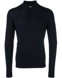 Fashion Clinic - Long Sleeved Knitted Polo Shirt - Lyst