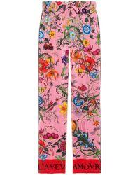 Gucci - Silk Flora Snake Print Trousers - Lyst