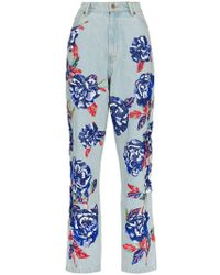 Ashish - Floral Embellished Straight Leg Jeans - Lyst