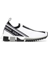 Dolce & Gabbana - Black And White Logo Print Neoprene Trainers - Lyst