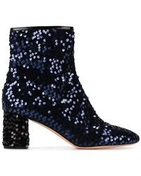 Rochas - Blue Sequin 65 Ankle Boots - Lyst