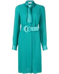Elisabetta Franchi - Belted Long-sleeve Midi Dress - Lyst