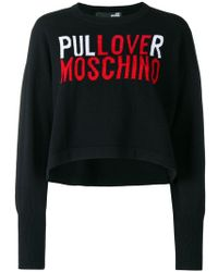 Love Moschino - Logo Embroidered Sweater - Lyst