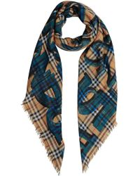 Burberry - Graffiti Print Check Wool Silk Large Square Scarf - Lyst