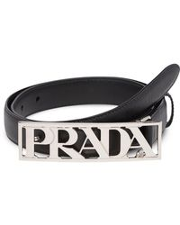 Prada - Metal Logo Buckle Belt - Lyst