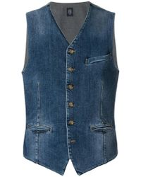 Eleventy - Denim Buttoned Waistcoat - Lyst