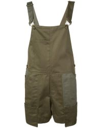 Monse - Buckled Strap Dungaree Shorts - Lyst