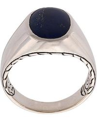John Hardy - Silver And Lapis Lazuli Classic Chain Signet Ring - Lyst
