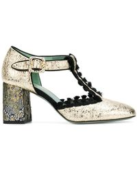 Paola D'arcano - Embroidered Metallic Pumps - Lyst