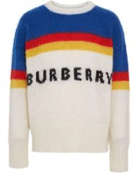 Burberry - Striped Logo Intarsia Mohair Wool Blend Sweater - Lyst
