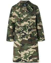 Stussy - Camouflage Trench Coat - Lyst