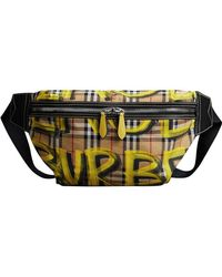 Burberry - Large Graffiti Print Vintage Check And Leather Bum Bag - Lyst