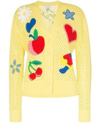 Mira Mikati - Appliqué Patch-detail Knitted-cotton Cardigan - Lyst