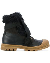 Chloé - Leather Ankle Boots With Fur - Lyst