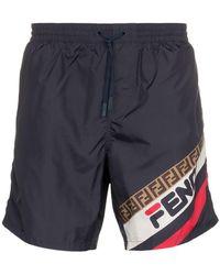 Fendi - Fila Logo Swim Shorts - Lyst