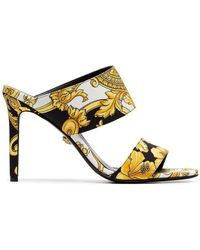 2579894a9f3859 Versace - Black White And Gold 95 Baroque Tribute Mules - Lyst