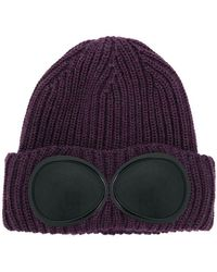 C P Company - Goggle Detail Knitted Beanie - Lyst