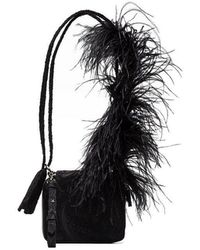 Marques Almeida - Black Ostrich Feather Strap Leather Shoulder Bag - Lyst 6caafc1011c34