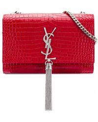 Lyst - Saint Laurent Kate Tassel Chain Bag in Blue 89542c10b6c89