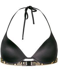 Versace - Greek Key Trim Bikini Top - Lyst