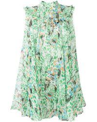 c952e6b7b2d Miu Miu Floral-print Smocked-waist Mini Dress in Red - Lyst