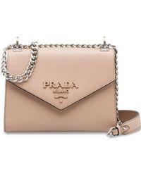 5841e5c588e3 Prada Monochrome Leather Shoulder Bag in Pink - Lyst
