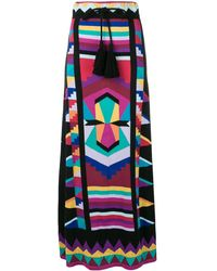Laneus Geometric Colour-block Maxi Skirt