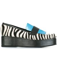 House of Holland - Paneled Flatform Zebra Print Leather and Calf Hair Loafers - Lyst