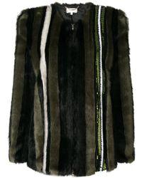 Patrizia Pepe - Sequin-embellished Faux Fur Jacket - Lyst