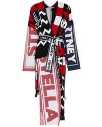 Stella McCartney - Mixed Logo Print Wool Blend Asymmetric Wrap Coat - Lyst